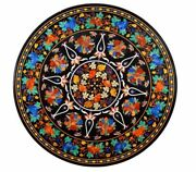 4and039 Black Antique Marble Dining Coffee Table Top Semi Precious Stones Inlay Work