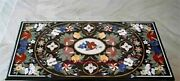 5and039x3and039 Black Marble Coffee Table Top Pietradura Marquetry Inlay