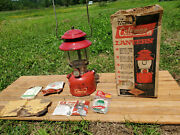 Vintage 1967 Coleman 200a Sunshine Of The Night Red Lantern With Box