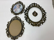 Lot Of 4 Brass Antique Picture Frames No Glass Made In Italy Victorian