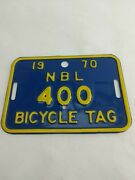 Bicycle License Plate 1970 Tag Number 400 Newberg Oregon Excellent 2d1