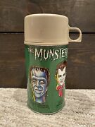 Vtg 1965 Thermos The Munsters Green Metal Lunch Box Mug - Complete - Rare Euc