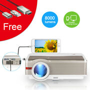 Eug 8000lm Hd Led Projector Home Theater Lcd Hdmi With Lighting Display Receiver
