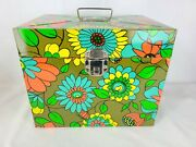 Floral Flower Power Retro Crazy Daisy Metal File Box Vintage With Two Keys