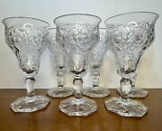 """Set Of 6 Mckee Depression Glass Water Wine Goblets Rock Crystal Clear 6 3/8"""" Exc"""