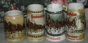 Lot Of 4 Budweiser Holiday Steins 1980 1981 Birch Trees 1982 1983