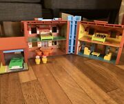 Vintage Fisher Price 952 Little People Play Family Brown Tudor House Car 1969