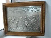 Antique Large Beautifull Picture 43x35 Bas-relief Pewter And Oak Germany Used