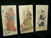 3 Antique Vintage Chinese Art Panels Beautiful Hand Painted Figures Signed J Le