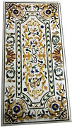 4and039x2and039 White Marble Table Top Dining Center Inlay Lapis Mosaic Bird Home Decor G2