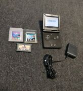 Nintendo Gameboy Advance Sp Ags 001 - Onyx Black + Charger Games Great Condition