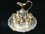 The Best Antique 800 Silver Tray Ewer And Miniature Cordial Goblets Liquor Set