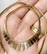 Vintage 14k Gold Cleopatra Necklace 14andrdquo Collar. Fine Jewelry. 11 1/2 Grams