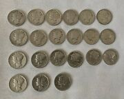 1930-1940 Mercury Silver Dime Lot Of 21 Some Worth Certification Great Con