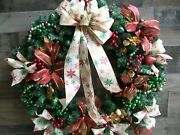 Large Beige Gold Green Red Pine Christmas Wreath With Bells Bow Balls Ribbon