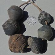6 Large Old Antique Clay Terracotta African Beads Mali 10