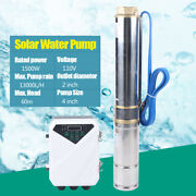 1500w Dc Submersible Solar Water Pump Stainless Steel Farm Irrigation + Mppt Us