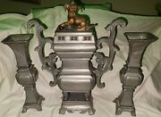 Rare Large 36lbs 19th Century Chinese Pewter Altar Incense Burner W/2 Vases