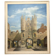 Fine Oil Painting Architectural Entrance Micklegate Bar York Signed F Chilton