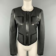 Size 6 Black Snake Piping Cropped Leather 04 P Jacket