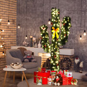 6ft Pre-lit Artificial Cactus Christmas Tree W/led Lights And Ball Ornaments