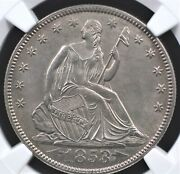 1853 Arrows And Rays Seated Half Dollar Ngc Ms 62 Clean And Well Struck Surfaces