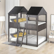 Full Over Full Wood Bunk Bed With Roof Guardrail Ladder For Kids Us Stock