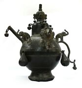 Antiques Oil Lamp Pot Brass Elephant Head Figurines Knighthoods Collectible Indi