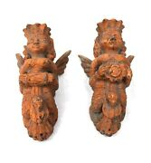 Antique Handcrafted Dolls Wall Hanging Figures Indian Wood Craving Home Decor