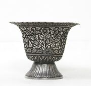 Vintage Bowl /pot Silver Handcrafted Indian Carving Collectible Home Decorative