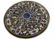 4and039 Black Marble Table Top Dining Coffee Room Decor Inlay Malachite Center Lapis