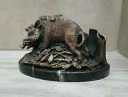 Vintage Beautifull Small Boar Bronze Statuette Sculpture Hunting Present Used