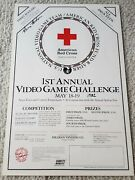 1982 Retro Gaming Poster Napa Town Country Fairgrounds Twin Galaxies Red Cross