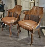 Pair 1990s Vtg English Regency Style Cane Wood And Leather Arm Chairs Ethan Allen