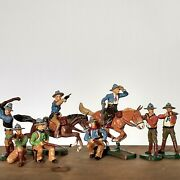 Toy Lot Old Wild West Elastolin Germany Cowboy And Horse Soldier Made In Germany