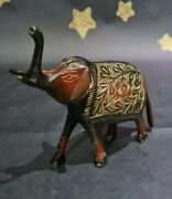 Vintage Elephant Figurine/ornament Marble Deep Red Gold. Detailed. Indian