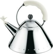 Alessi Michael Graves Whistling Kettle, White Handle And Bird