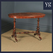 Antique English Victorian Burr Walnut Inlaid Oval Occasional Silver Side Table