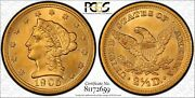 1905 2.5 Gold Quarter Eagle. Pcgs Ms64. Gorgeous Color And Luster.