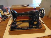 Vintage Sewmor 303 Tip Top Electric Sewing Machine With Case Made In Japan