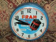 Vintage 1950and039s Fram Oil And Motor Advertising Clock By Dualite Displays Inc