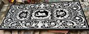 6and039x3and039 Antique Black Marble Coffee Dining Table Top Inlay Pietra Dura Marquetry