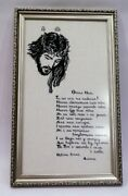 Completed Finished Cross Stitch Prayer Our Father Framed Hand Embroidery