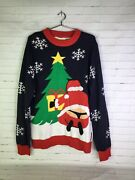 Tipsy Elves Santa In A Thong Christmas Ugly Sweater Holiday Novelty Men's Size L