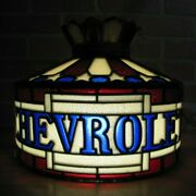 Chevrolet Bowtie Auto Truck 70s Faux Stained Glass Lamp Light Dealership Sign Ad
