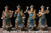 19.6 Chinese Ceramic Glaze Pottery 4 Great Heavenly Kings Immortals Statue Set