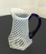Fenton Glass Pitcher French Opalescent Swirl Optic Cobalt Blue Handle White