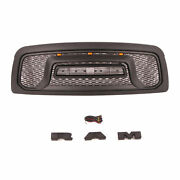 Black Grille For Dodge Ram 1500 2002-2005 Grill Rebel Style W/letters And Lights