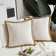 Pack Of 2 Farmhouse Decorative Throw Pillow Covers Burlap 26 X 26 Off White