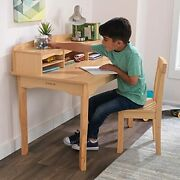 Wooden Childrenand039s Desk With Hutch Chair And Storage Natural Gift For Ages 5-10
